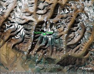 Satelītbilde - Kailas kalns Tibetā